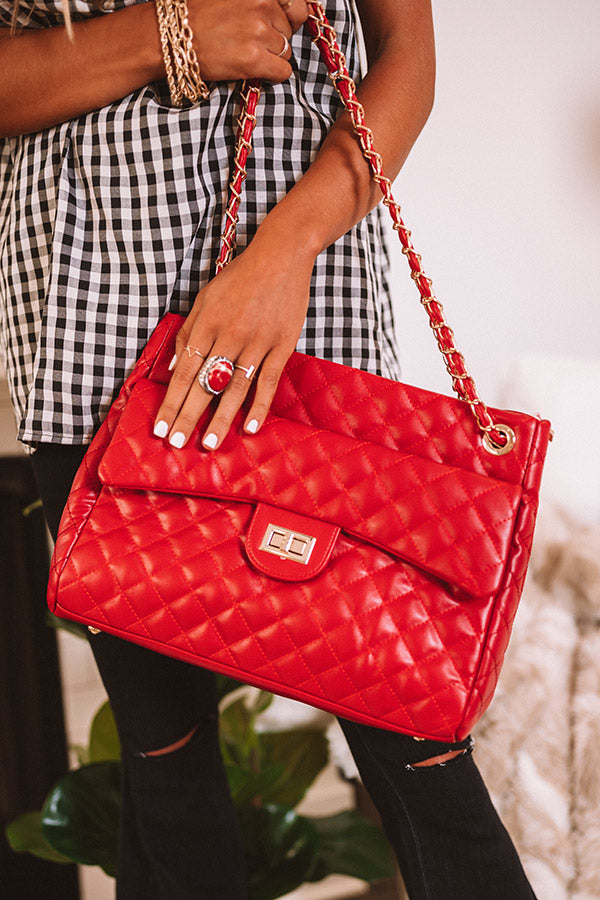Pretty Style Quilted Tote In Red