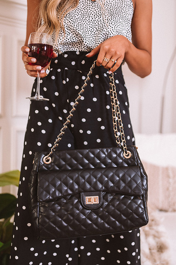 Pretty Style Quilted Tote In Black