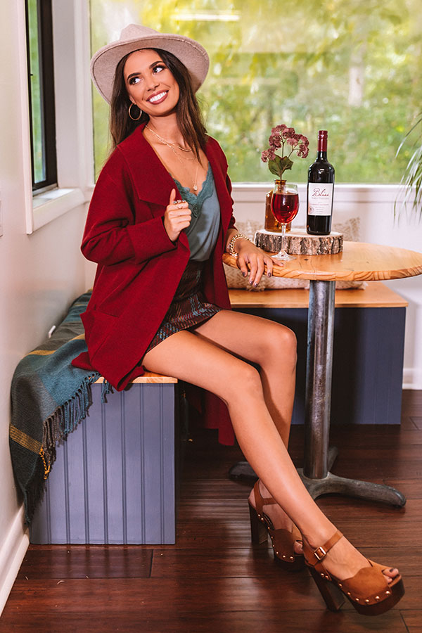 Instant Classic Cardigan In Wine