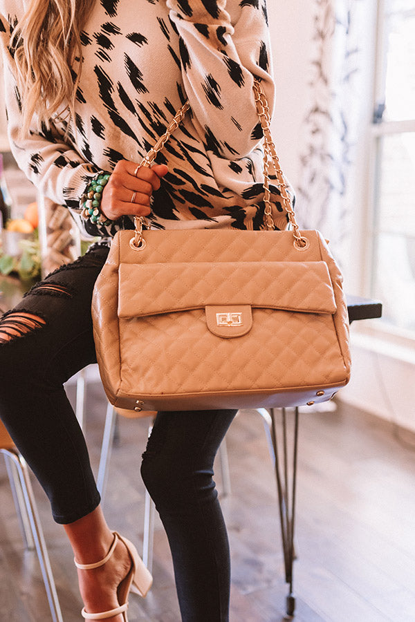 Pretty Style Quilted Tote In Khaki