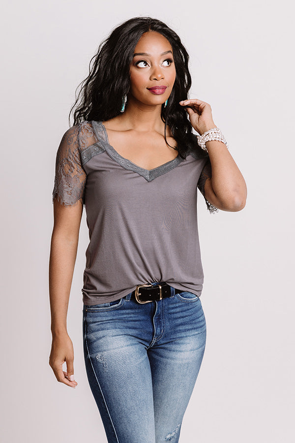 Sights On The Sea Lace Top In Charcoal