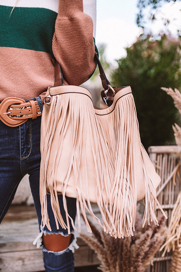 The Time Is Now Faux Leather Fringe Tote In Iced Latte