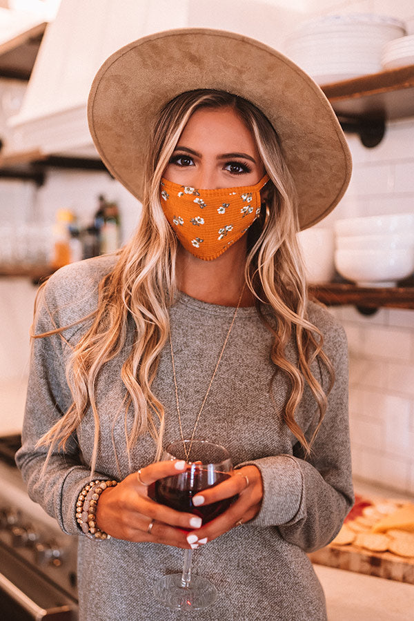 Solo Trip Floral Cloth Face Mask In Orange