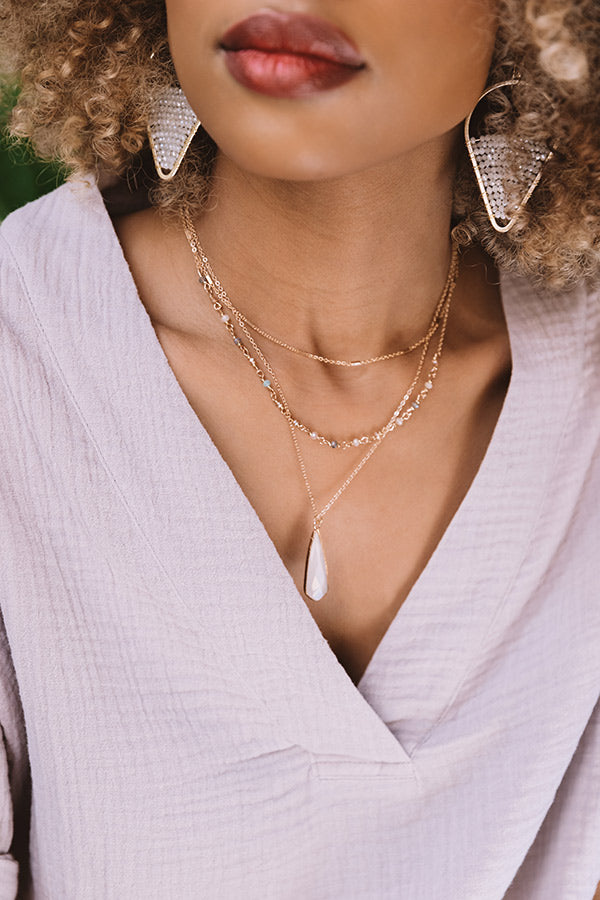 Clearly Chic Semi Precious Layered Necklace In White