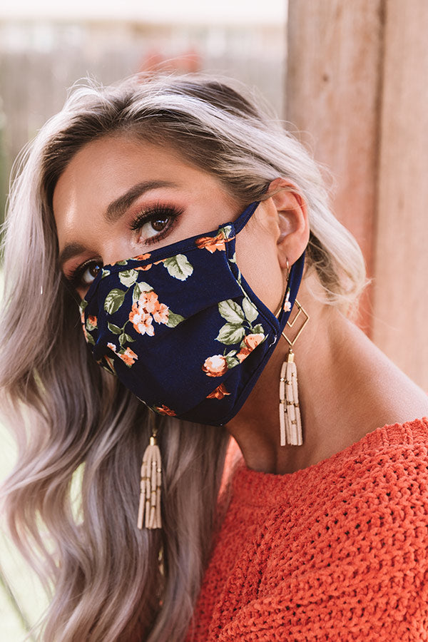 Solo Trip Floral Cloth Face Mask In Navy