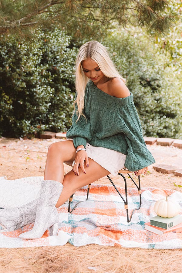Pumpkin Spice Cable Knit Sweater In Hunter Green
