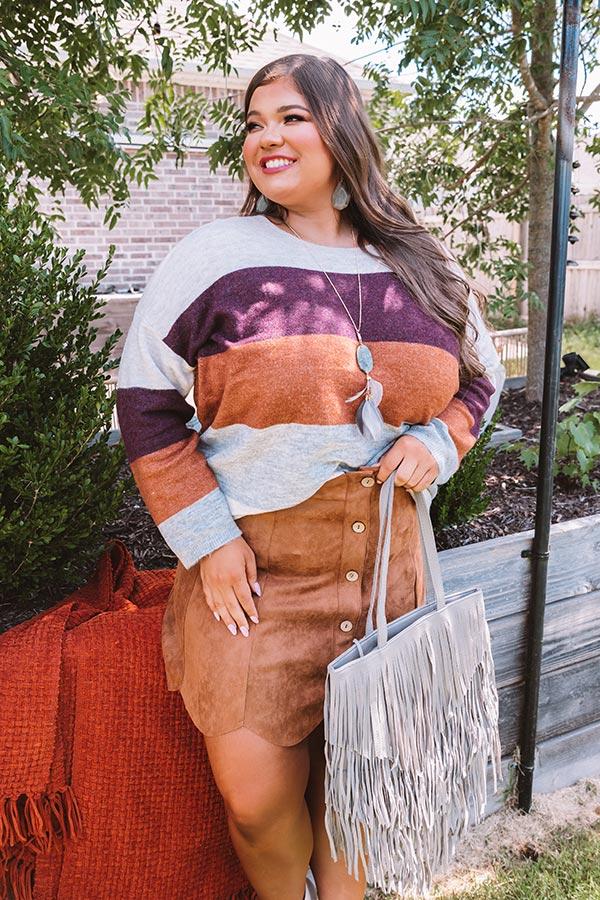 Cozy Sunday Charm Color Block Sweater In Maroon