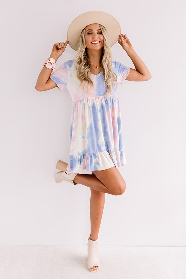 Tropical Times Tie Dye Babydoll Dress In Pink