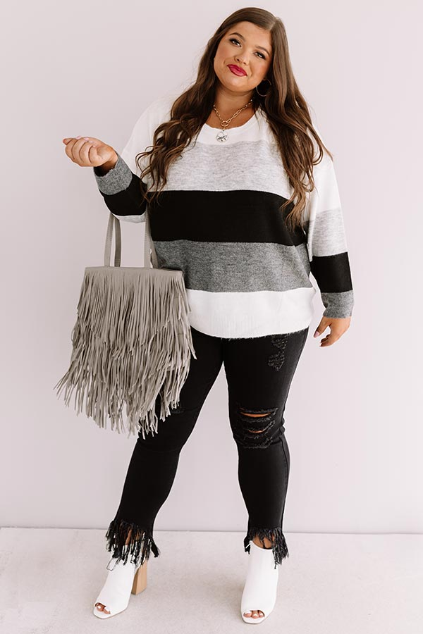 Cozy Sunday Charm Color Block Sweater In Grey
