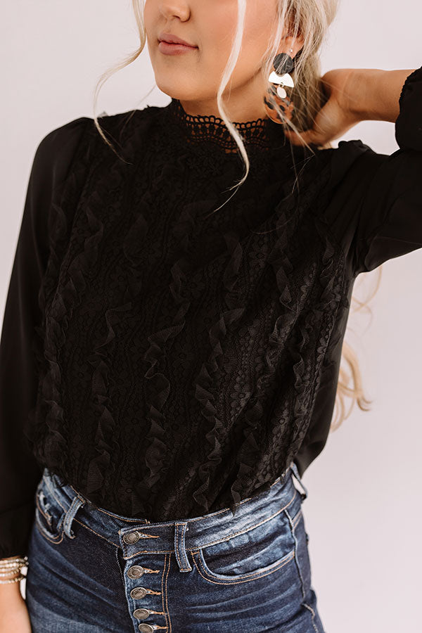 Pretty Style Lace Top in Black