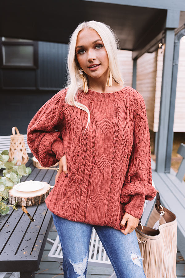 Pumpkin Spice Cable Knit Sweater In Aurora Red