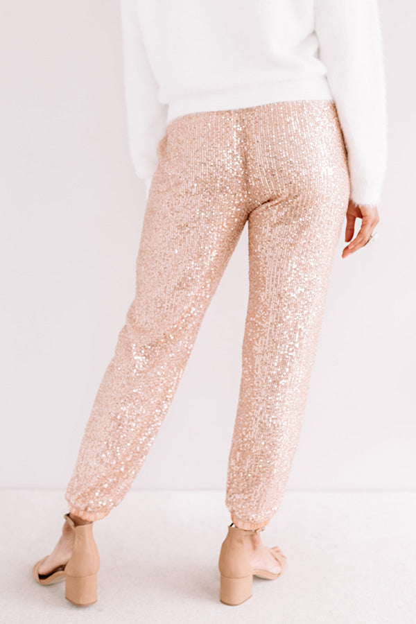 Extra Sparkles Sequin Joggers In Rose Gold
