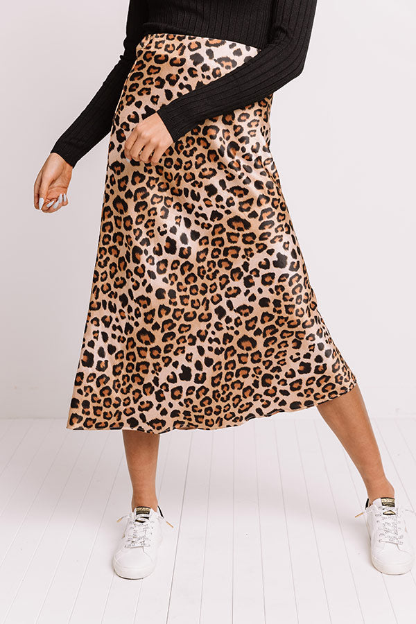 Turn Up The Sass Leopard Midi Skirt