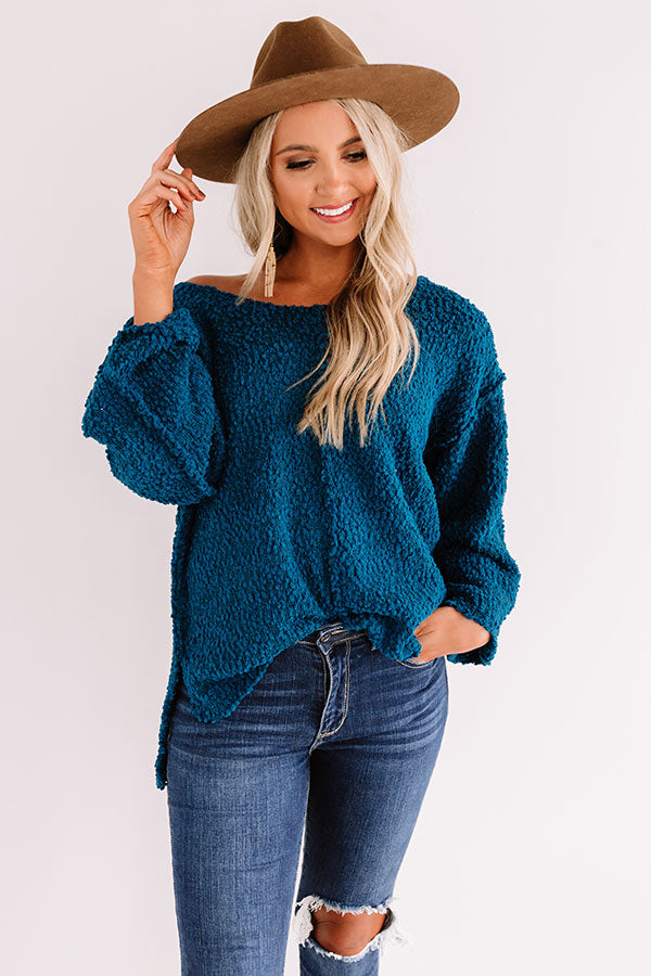 Laying Low In Colorado Popcorn Knit Sweater In Teal