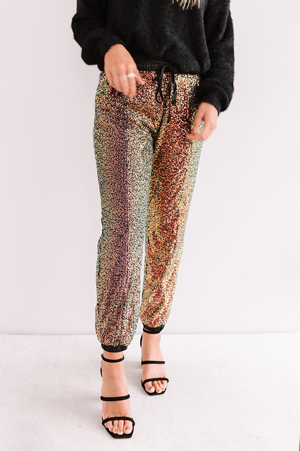 Extra Sparkles Sequin Joggers In Black