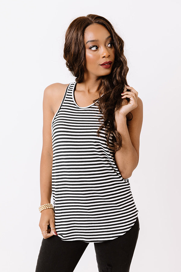 Back Together Stripe Tank In Black