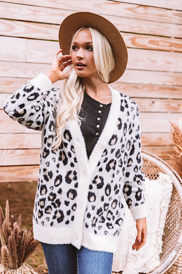 Fawning Over You Ultra Soft Leopard Cardigan In Ivory