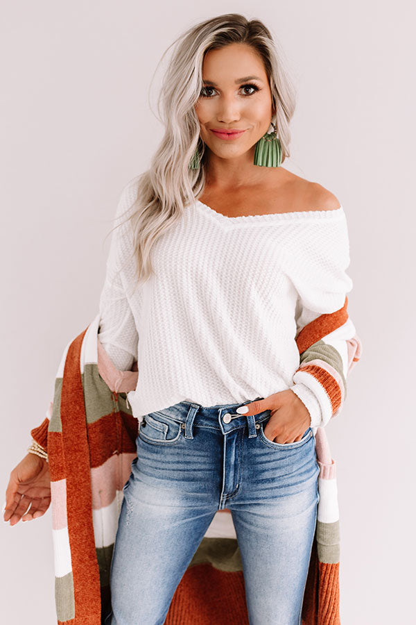 Falls Frills Waffle Knit Top In White