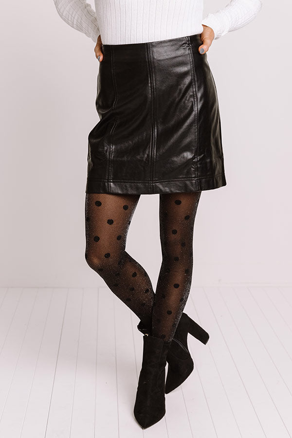 Stroke Of Midnight Faux Leather Skirt In Black