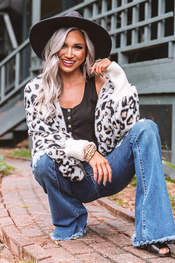 Cute Caption Ultra Soft Leopard Cardigan In Ivory