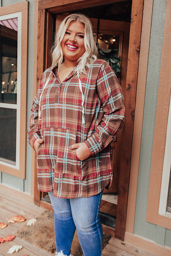 Rocky Mountain Bliss Flannel Sweater In Brown