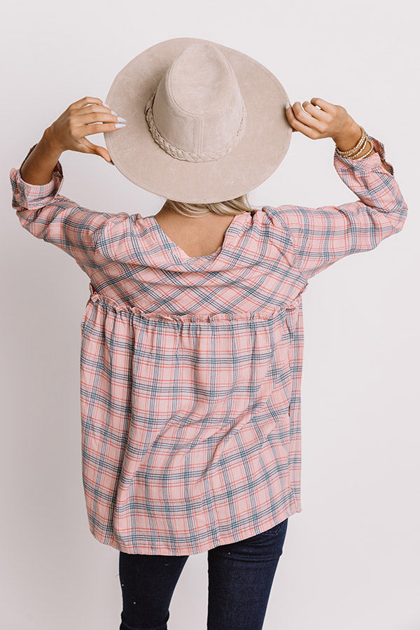 Pumpkin Patch Perfection Plaid Babydoll Top In Pink