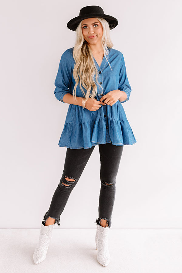 Afternoon Delight Chambray Shift Top