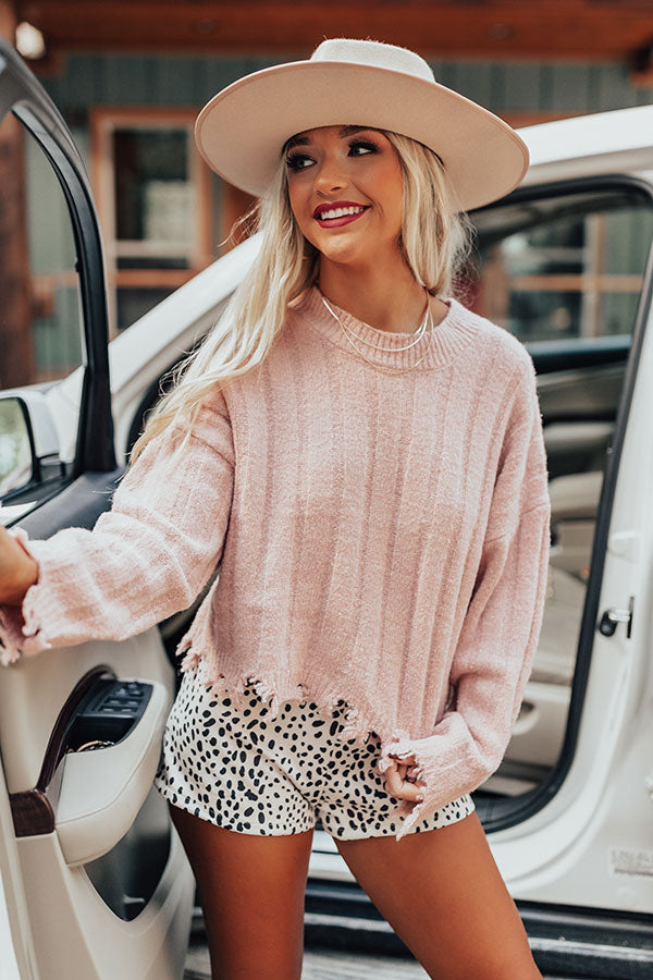 Latte Morning Distressed Sweater In Pink