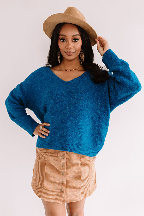 Headed To Aspen Knit Sweater In Ocean Blue