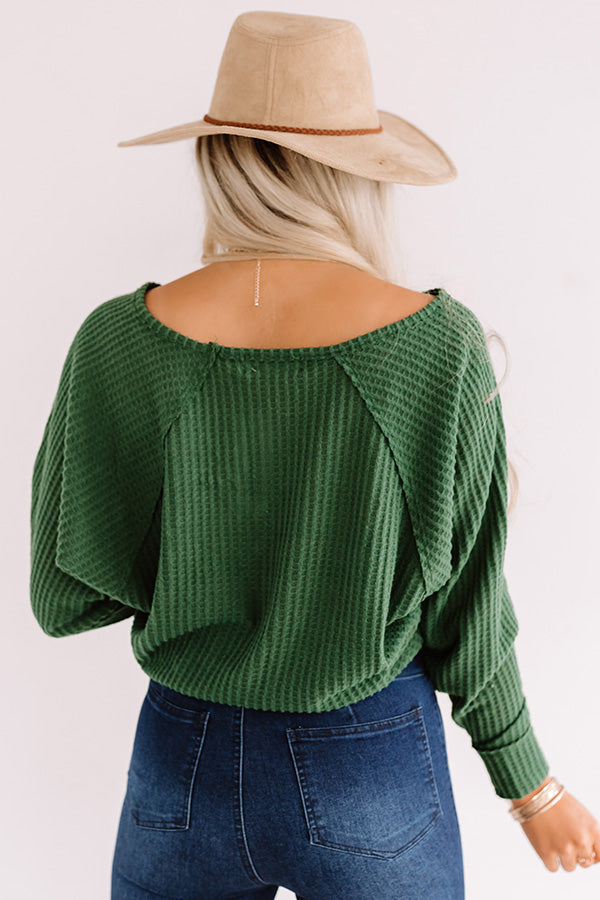 Autumn Melody Waffle Knit Top In Hunter Green