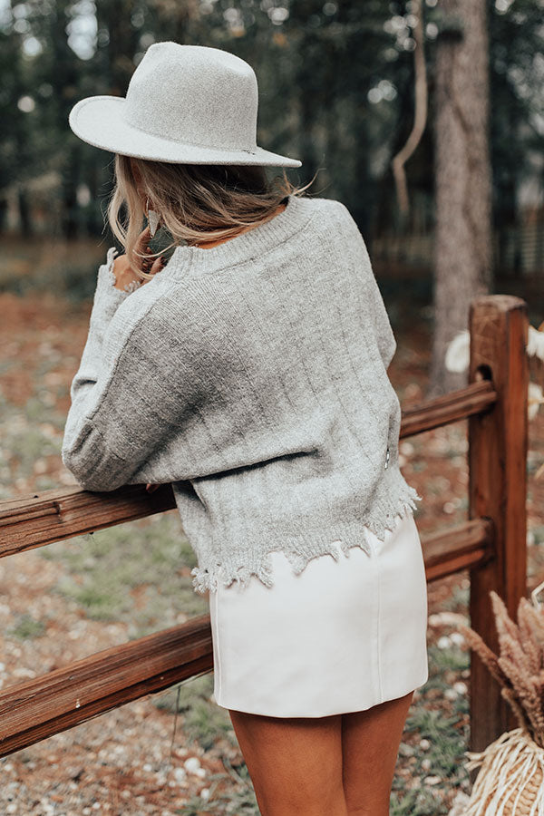 Latte Morning Distressed Sweater In Grey