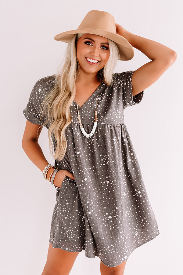 Casual Occasion Babydoll Dress In Charcoal