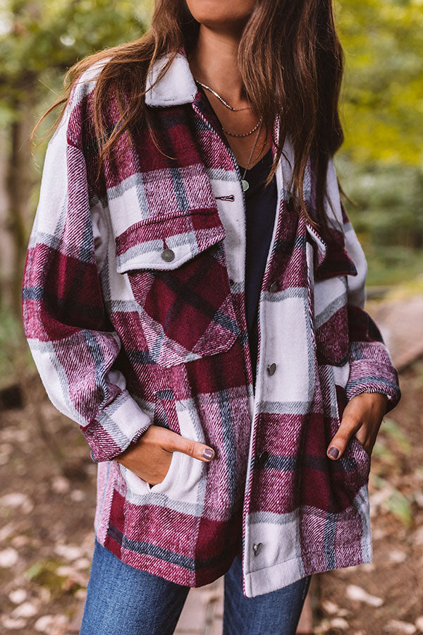 Redwoods Adventure Plaid Jacket In Wine