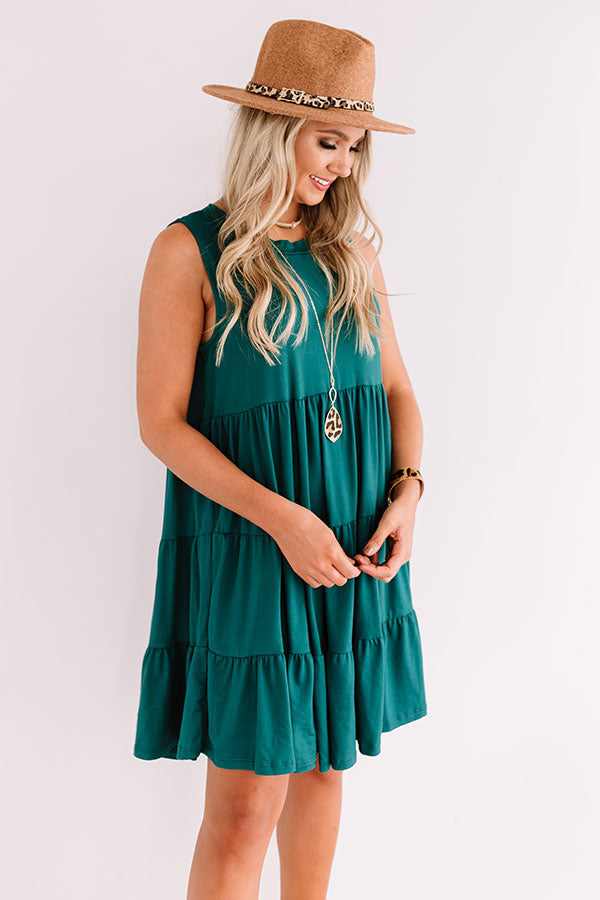 Apple Spiced Wishes Babydoll Dress In Hunter Green