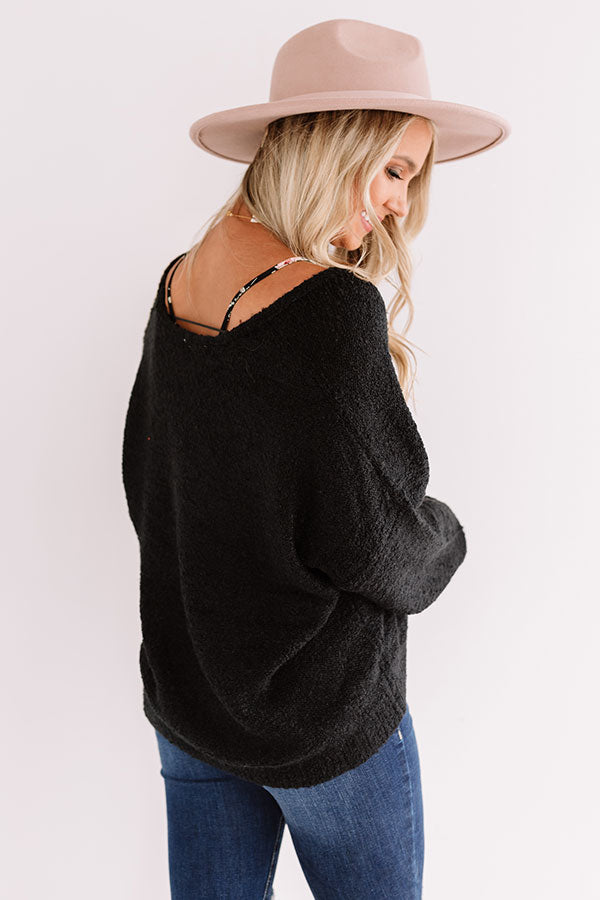 Headed To Aspen Knit Sweater In Black
