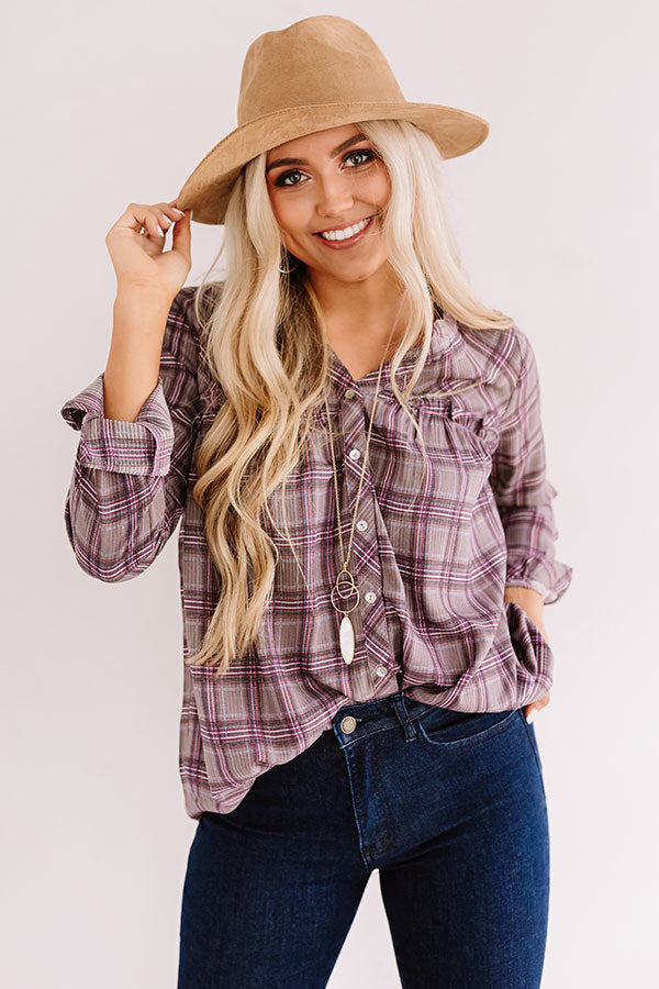 Pumpkin Patch Perfection Plaid Babydoll Top In Purple