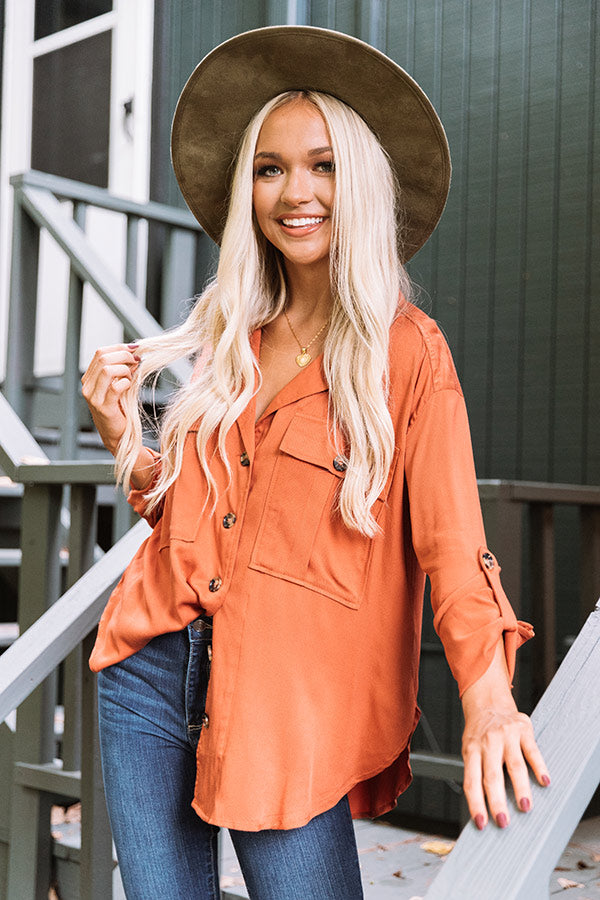 Upstate Journey Button Up Top In Rust