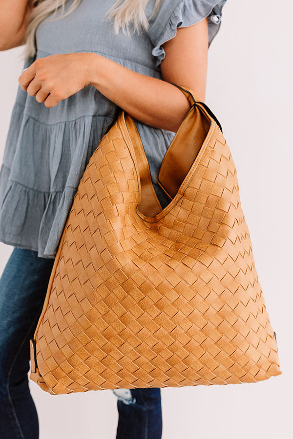 Bryant Park Bungalow Faux Leather Tote In Golden Honey