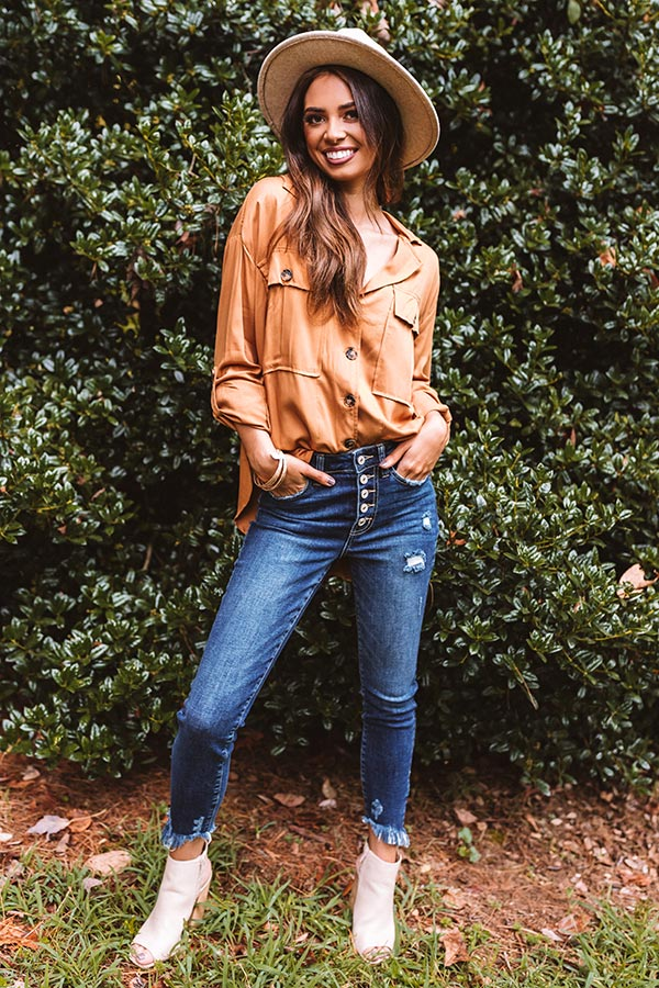 Upstate Journey Button Up Top In Copper