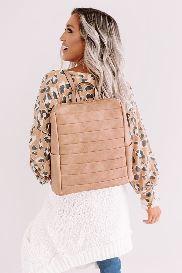 Solo In Soho Faux Leather Backpack In Iced Latte
