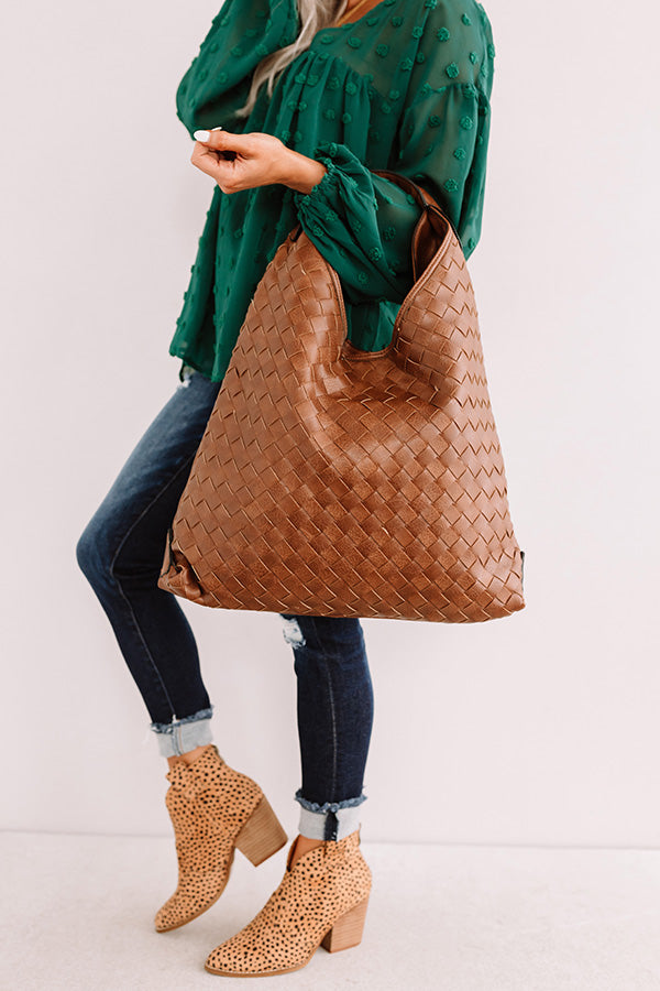 Bryant Park Bungalow Faux Leather Tote In Chestnut