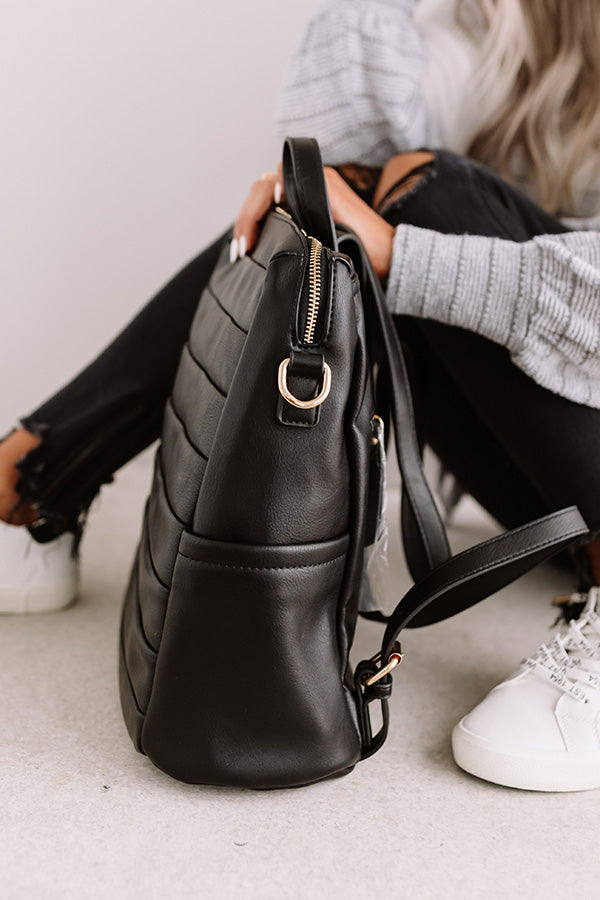 Solo In Soho Faux Leather Backpack In Black
