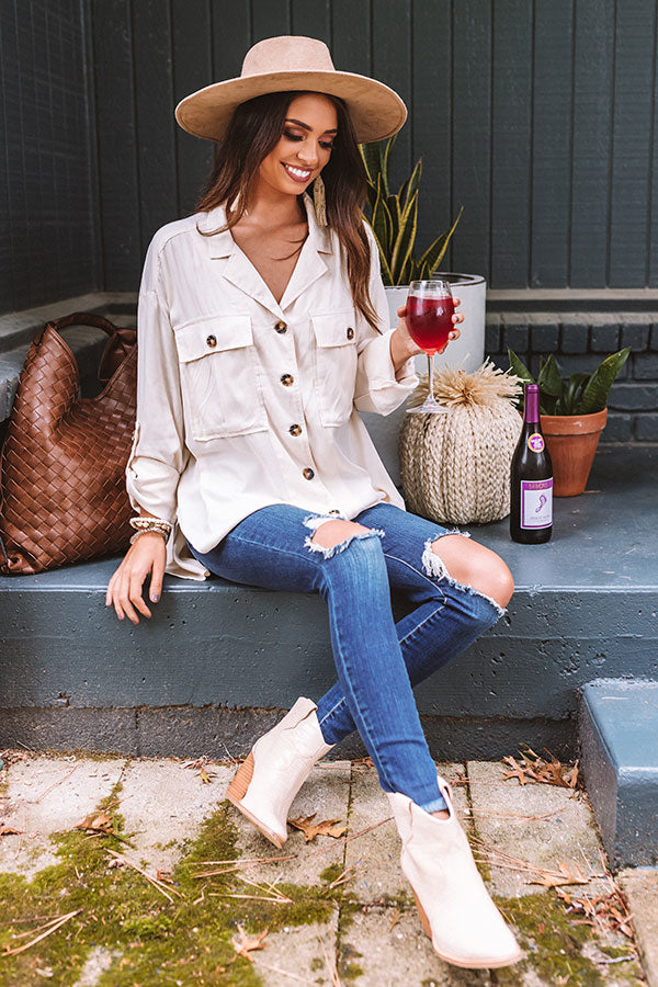 Upstate Journey Button Up Top In Cream