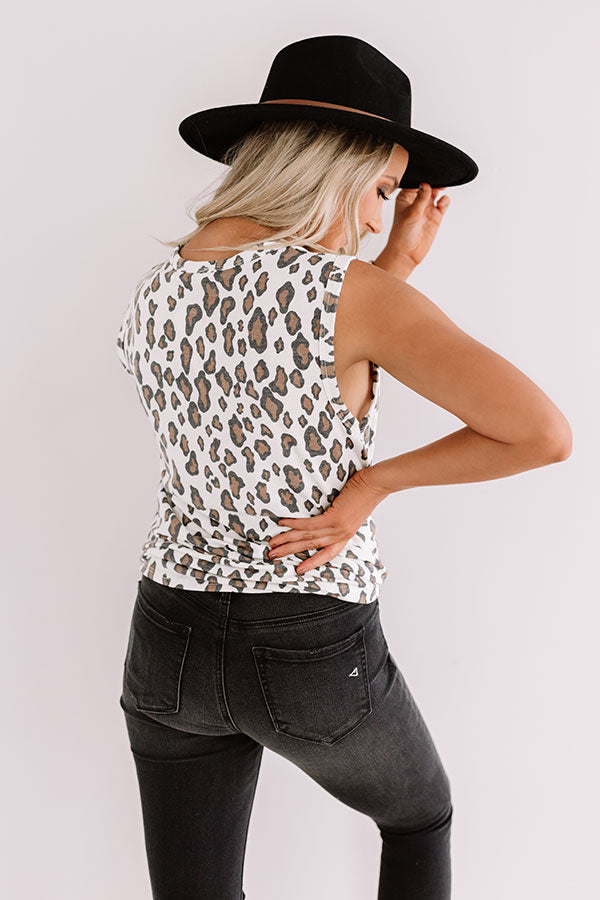 First In Sass Distressed Leopard Tank