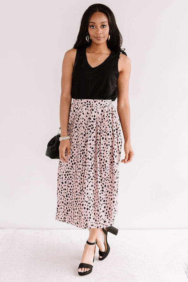 Raise A Glass Leopard Pleated Skirt In Blush