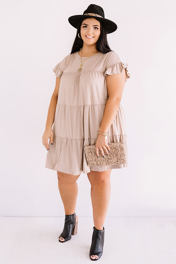 Ready To Party Babydoll Dress In Taupe