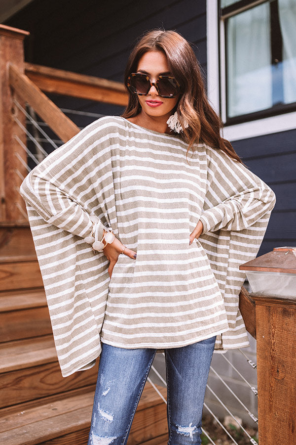 Seattle Breeze Stripe Top in Sage
