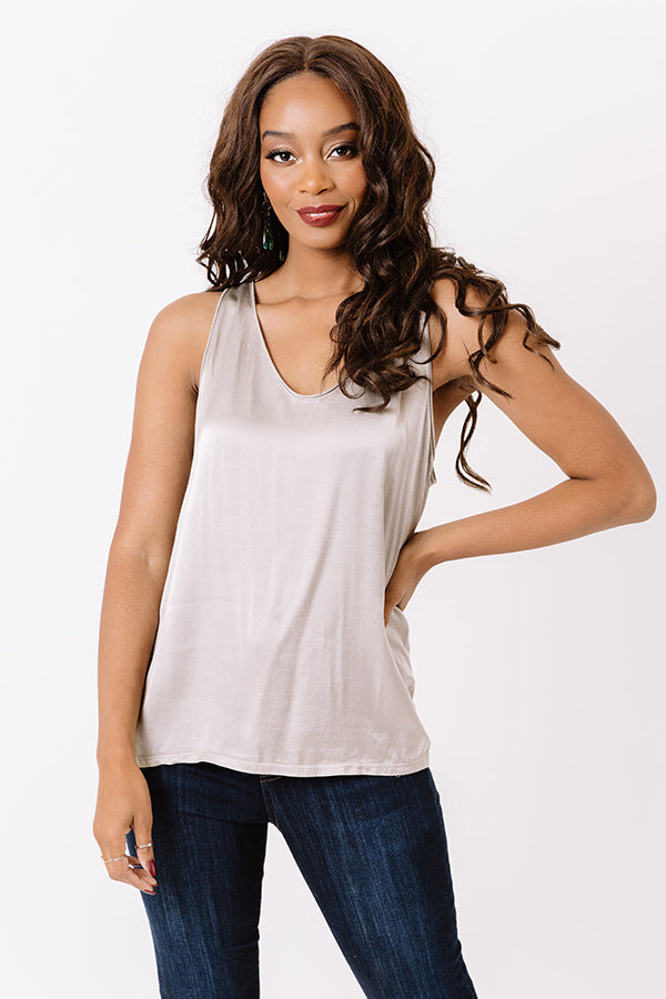 Talking All Night Shift Top In Taupe