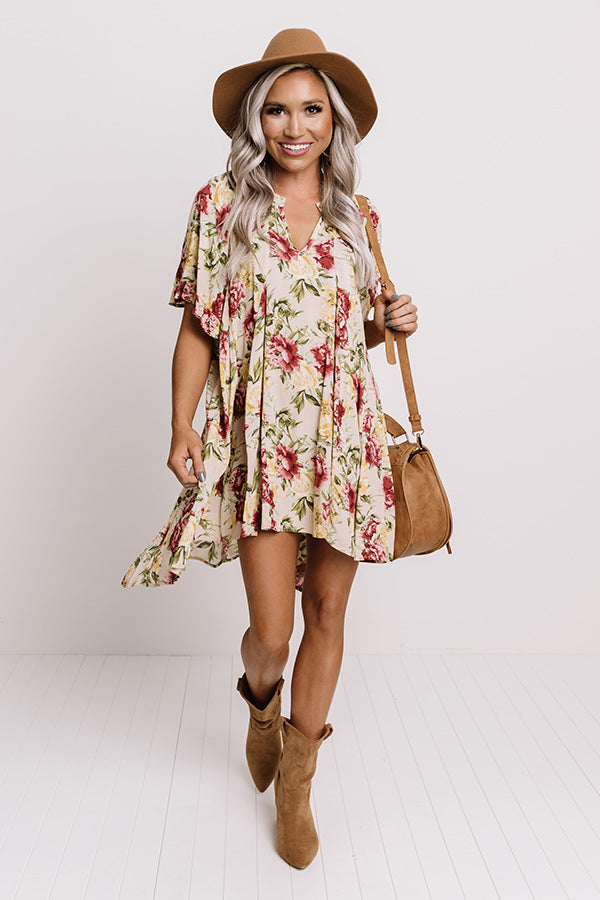 Folk Song Floral Tunic Dress In Champagne
