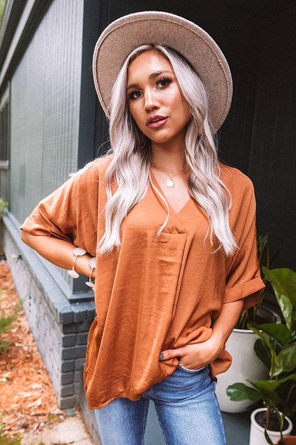 Kissing By Candlelight Shift Top In Dark Camel